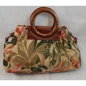 FOSSIL Tropical Print Canvas Wood Handle Tote Bag